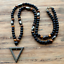 Natural Beaded Men/'s OnyxTigers EyeHematite Triangle Necklace Beads Long