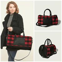 Abercrombie & Fitch Womens Red Plaid Duffle Travel Weekender Book Bag Tote