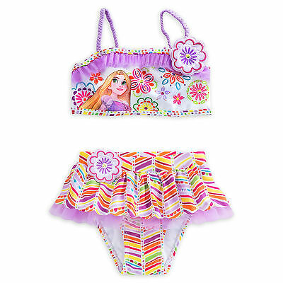 Disney Store Princess Tangled Rapunzel Deluxe 2 PC Swimsuit Girl Size 5//6 7//8