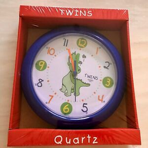 Twins-Quartz-Dinosaur-Clock-Kids-Children-s-Wall-Clock