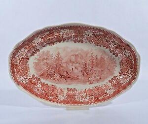 Villeroy-amp-Boch-Burgenland-Rot-Servierplatte-Platte-33-5-V-amp-B-Mettlach-Keramik