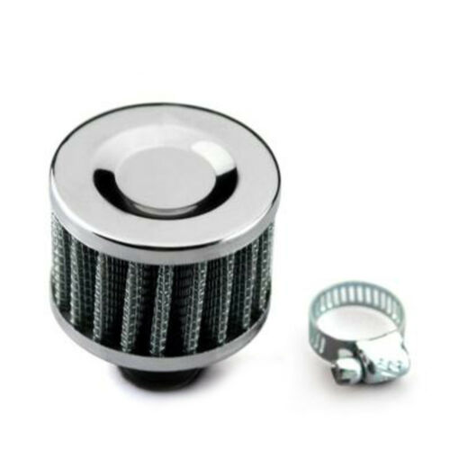 1 x Silvery 12mm Car Motor Cold Air Intake Filter Turbo Vent Crankcase Breather