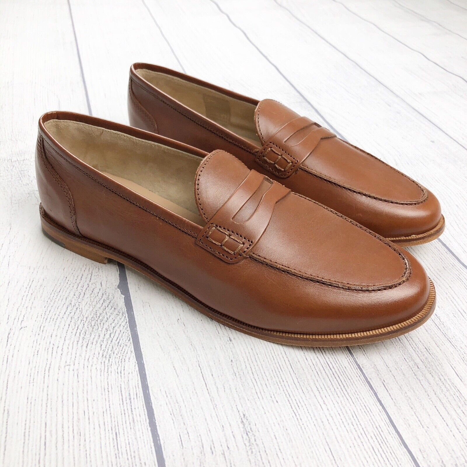nuovo J. Crew Leather Ryan Penny Loafer Burnished Pecan 9.5