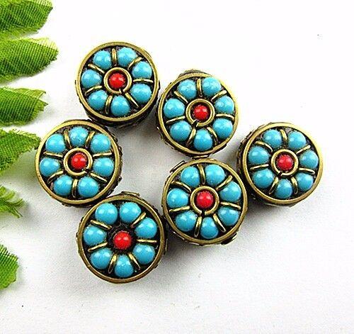 6PCS Tibetan Nepalese Handmade Turquoise Lapis Lazuli Coral Brass Pendant Vk5623