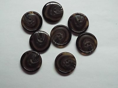 8pc 27mm Honey /& Dark Brown Mock Horn Coat Cardigan Knitwear 2 Hole Button 0941
