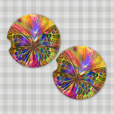 Set Of Colorful Butterfly Design Car Coasters Ebay