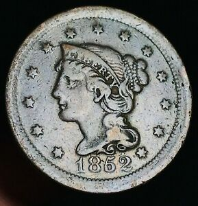 1852-Large-Cent-Matron-Braided-Hair-1C-Higher-Grade-Good-US-Copper-Coin-CC4590