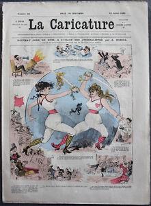 Albert-ROBIDA-Journal-LA-CARICATURE-N-28-1880-Couv-Couleur-Nouveau-Code-du-Duel
