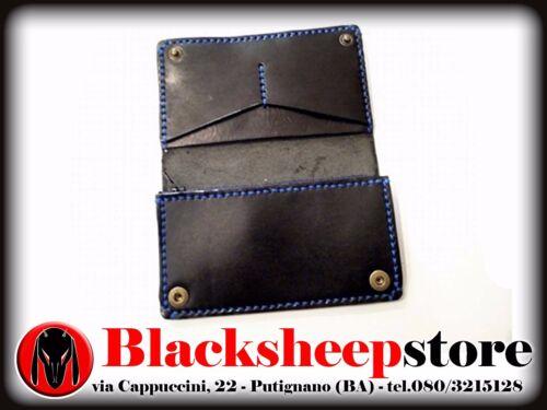 Portafoglio artigianale in cuoio Made in Italy clip Goth cammeo personalizzabile