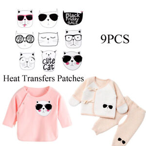 70be99b917d4 Details about 9pcs Heat Transfers Patches Cute Cat Clothing Stickers DIY  Iron-on Applique DIY.