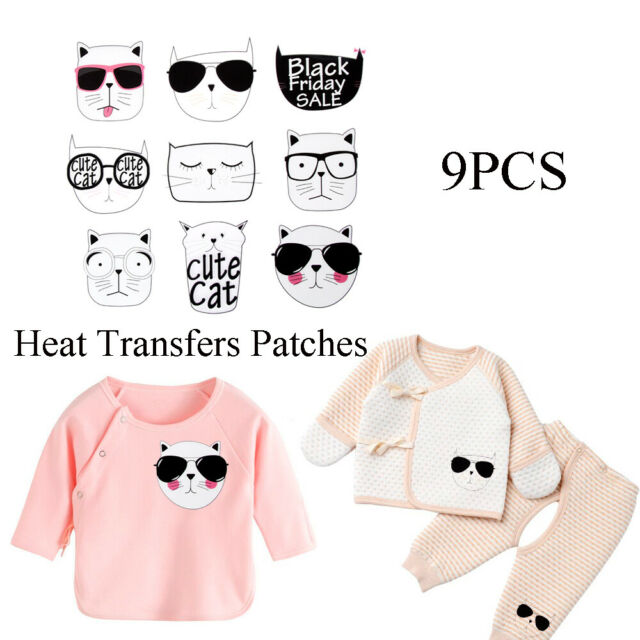 9pcs Heat Transfers Patches Cute Cat Clothing Stickers DIY Iron-on Applique DIY~