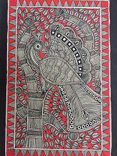 """ORIGINALE madhubani mithila DIPINTI """"PAVONE"""" realizzata a mano indiano Folk Art"""
