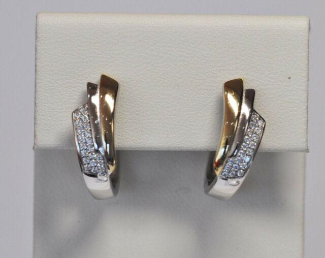 Echt 925 Sterling Silber Ohrringe Creolen mit Zirkonia vergoldet Hochzeit Nr 220