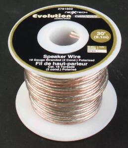 Nexxtech 18-Gauge Stranded Speaker Wire 9m (30ft) - Clear
