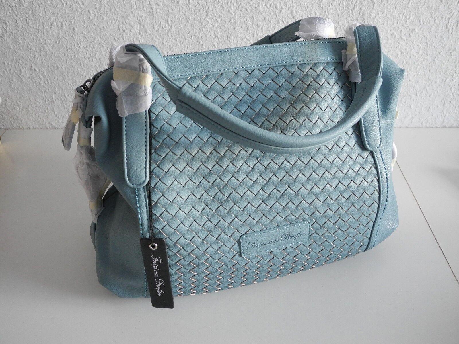 NEU Damen Handtasche Fritzi aus Preußen Frida Hellblau Sky geflochten | Neues Produkt