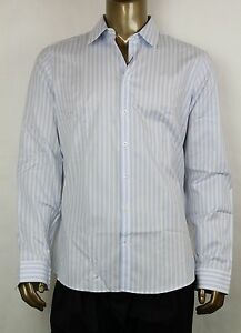 4cca558c6 New Authentic Gucci Men's Slim Stripe Blue/White Shirt 42/16.5 ...