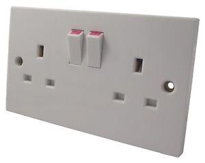 13a Interrupteur Prise 2-emplacements Double Pôle - 2 X Mural Électrique Construction Robuste