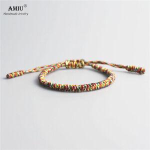 Bracelet en macramé en tissu multicolore ajustable tibétain Bohème feng shui new