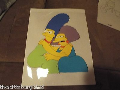 AWESOME VERY  RARE THE SIMPSONS TV PRODUCTION CEL MARGE & SELMA VERY COOL