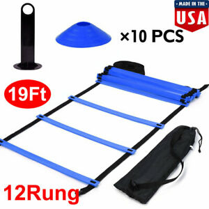 Speed-Agility-Train-Kit-Flat-Ladder-10pc-Disc-Cones-Athletic-Training-12-Rung