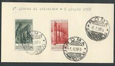 1955 ITALIA FDC PETROLIO - FRANCOBOLLI APPLICATI SU CARTONCINO - 3