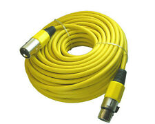 XLR Male to Female 3pin Mic Microphone Lo-z Extension Cable Cord 50ft Yellow