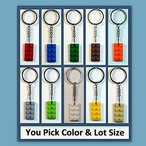 Lot-of-10-60-Key-Chains-w-LEGO-2x4-Plate-Birthday-Party-Favor-or-Game-Prize
