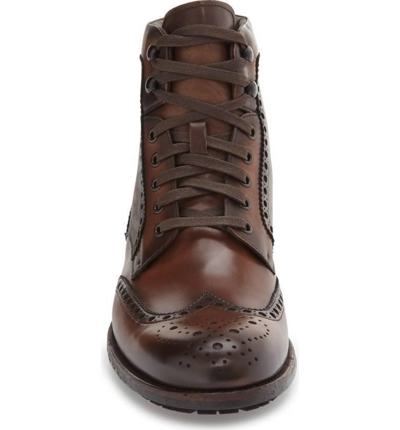 Para Hombre Hecho a Mano Marrón Cordones De Cuero Zapatos botas De Cuero Suela y tacón Personalizado