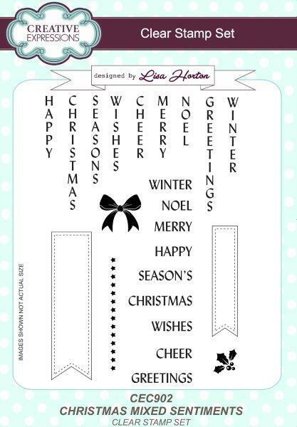 CREATIVE EXPRESSIONS A5 Clear Stamp Set FESTIVE GREETINGS CEC928 Christmas