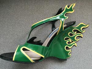 Haut Flammes Haute 37 Nouveau Sandale Compensé Talon Vert Prada Jaune wqf64xaTa