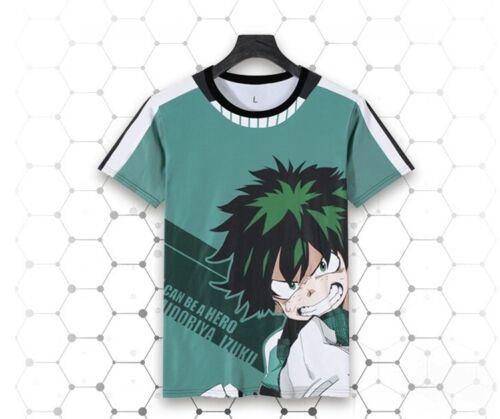 Anime My Boku No Hero Academia Midoriya Izuku Cosplay T-shirt Tops Summer Tee