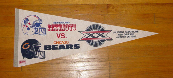 1985 Chicago Bears vs New England Patriots Super Bowl XX pennant Walter Payton