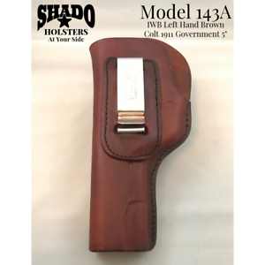 SHADO Holster Model 143A Inside Waistband Left Hand Brown Fits Colt 1911 Govt 5""