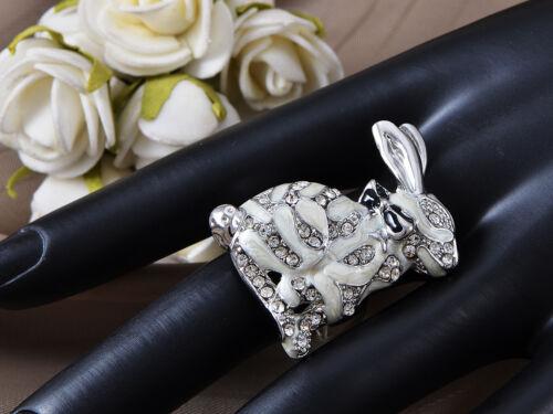 Enamel White Bunny Crystal Rhinestone Striped Fur Rabbit Custom Adjustable Ring
