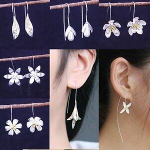 Women-039-s-Silver-Plated-Lotus-Dangle-Drop-Earrings-Ear-Hook-Flower-Jewelry-Gift