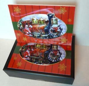 Santa-039-s-Express-Train-Christmas-Cards-Box-0f-10-with-Envelopes-3D-Santa-Claus