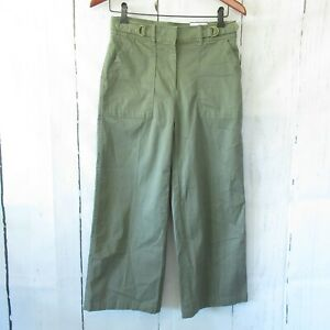 New-White-House-Black-Market-Pants-2-Olive-Green-High-Rise-Wide-Leg-Cropped