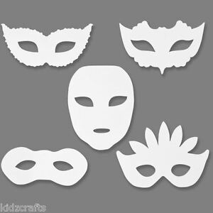 masquerade white card face masks to colour 20x15cm elastic children