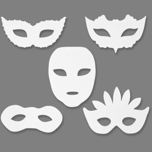 Masquerade blanc carte visage masques de couleur 20x15cm élastique enfants craft PK16