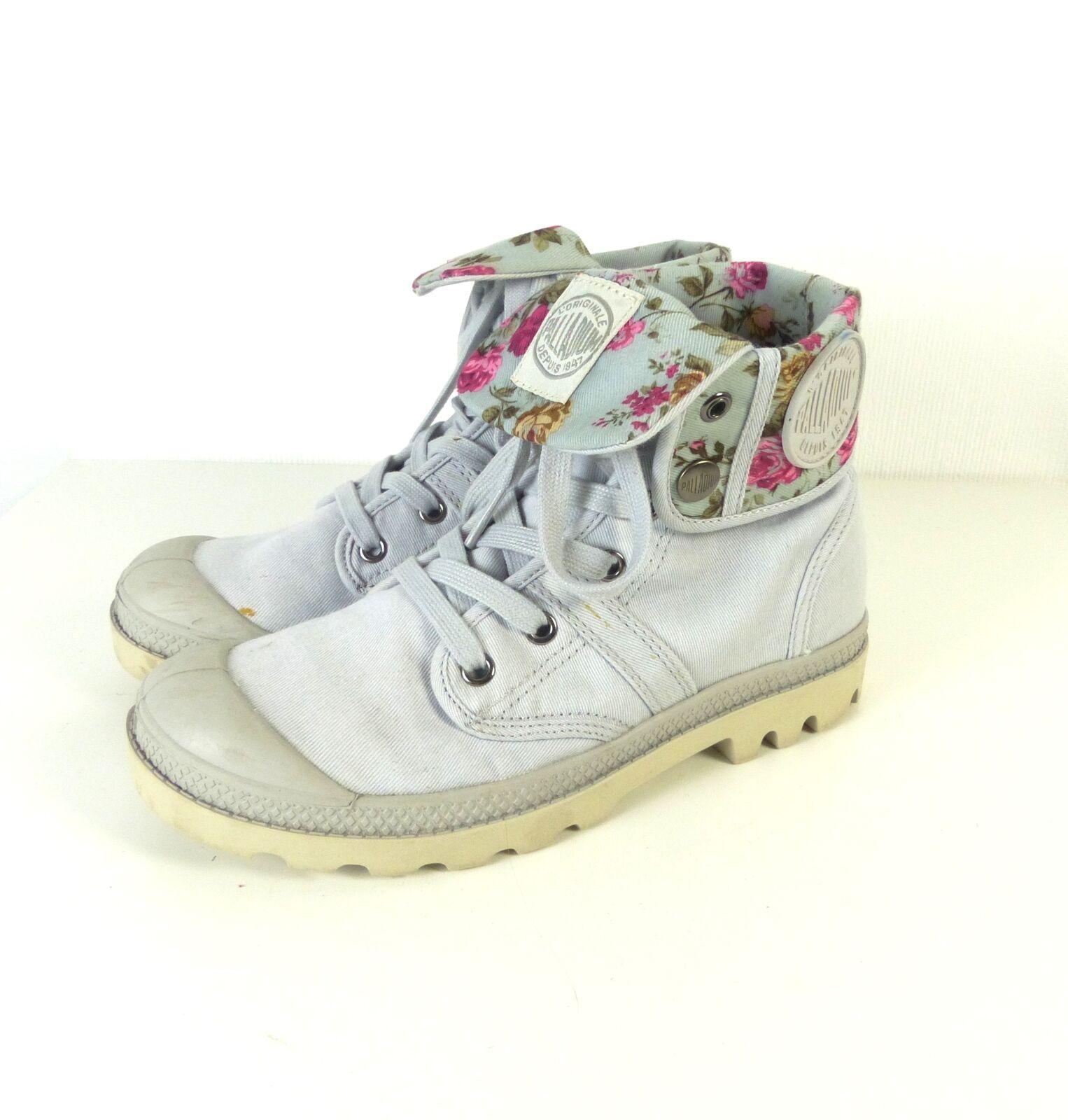 PALLADIUM High Top Sneaker Stiefel Schuhe Grau Geblümt Gr. EUR 37 (N6)