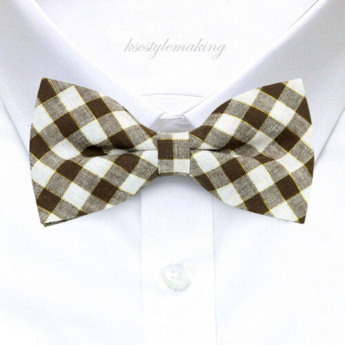 Brand New Brown /& White Checked Gold Metallic Adjustable Bow tie for Boys B634