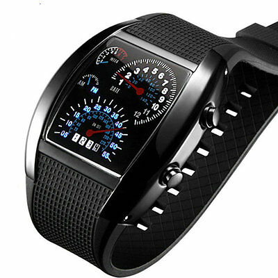 New Men's Cool RPM Turbo Sports Car Meter Dial Flash LED Watch Black Gift