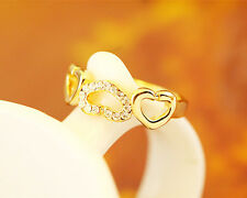 New 18K Gold / Rose Gold Filled Crystal Solid Simple Heart Ring Size 6 7 8