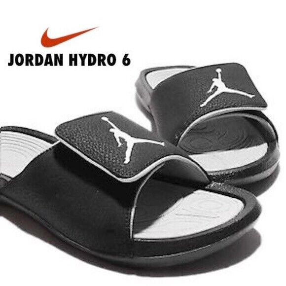 Nike Jordan Hydro 6 Men's Sandals Slides 881473 Black Gray sz 8 9 10 11 12 13 14