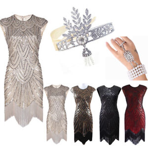 0483a2df Image is loading 1920s-Flapper-Dress-Great-Gatsby-Prom-Sequins-Fringe-