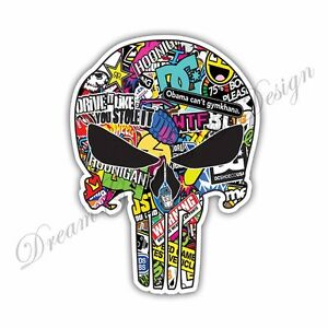 Die Cut Punisher Vinyl Sticker Skull 20 Colors Bumper Window Body Car Decal #102
