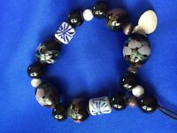 Bracelet Cloisonne And Other Beads Black Blue White Gold