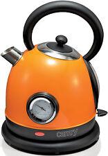 Edelstahl Design Wasserkocher, Retro Kocher,1,8 Liter,2200 Watt, ORANGE NEU