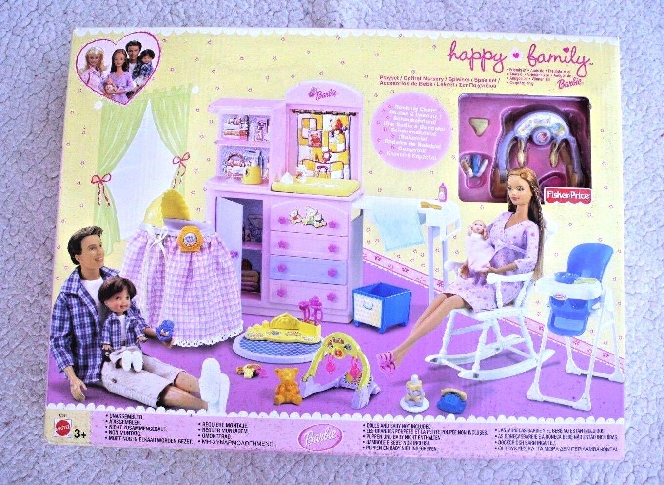 BARBIE HAPPY FAMILY: NURSERY PLAYSET  GUARDERÍA 2002 . BRAND NEW IN BOX, OS