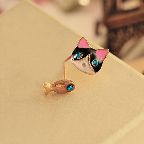 1 Paire Femmes charme fashion CUTE Lovely Cat Poisson Strass Ear Stud Boucle d/'oreille cadeau